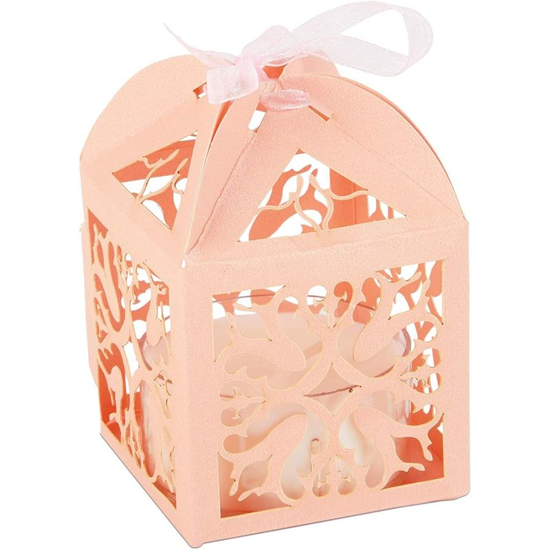 Pink Party Favor Gift Boxes for Wedding (2.3 x 3.5 Inches, 100 Pack)