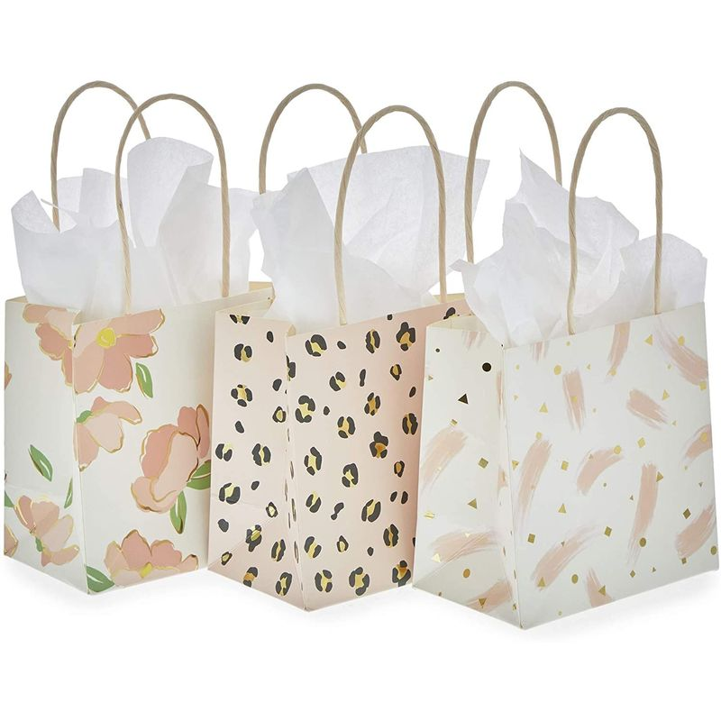 Mini Gift Bags with Handles in 3 Pink Designs (5 x 5 x 3 in, 12 Pack)