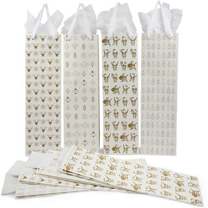 Christmas Wine Gift Bags with Tissue Paper (White, 4.5 x 15.5 x 3.5 in, 12 Pack)