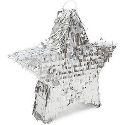 Small Silver Foil Star Pinata for Birthday Party (13 x 13 x 3 Inches)