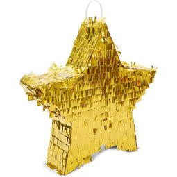 Small Gold Foil Star Pinata for Birthday Party (13 x 3 Inches)