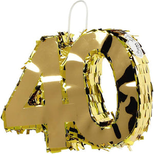 Mini Gold Pinata for 40th Birthday Party, Number 40 (7.8 x 6.3 x 2 Inches)
