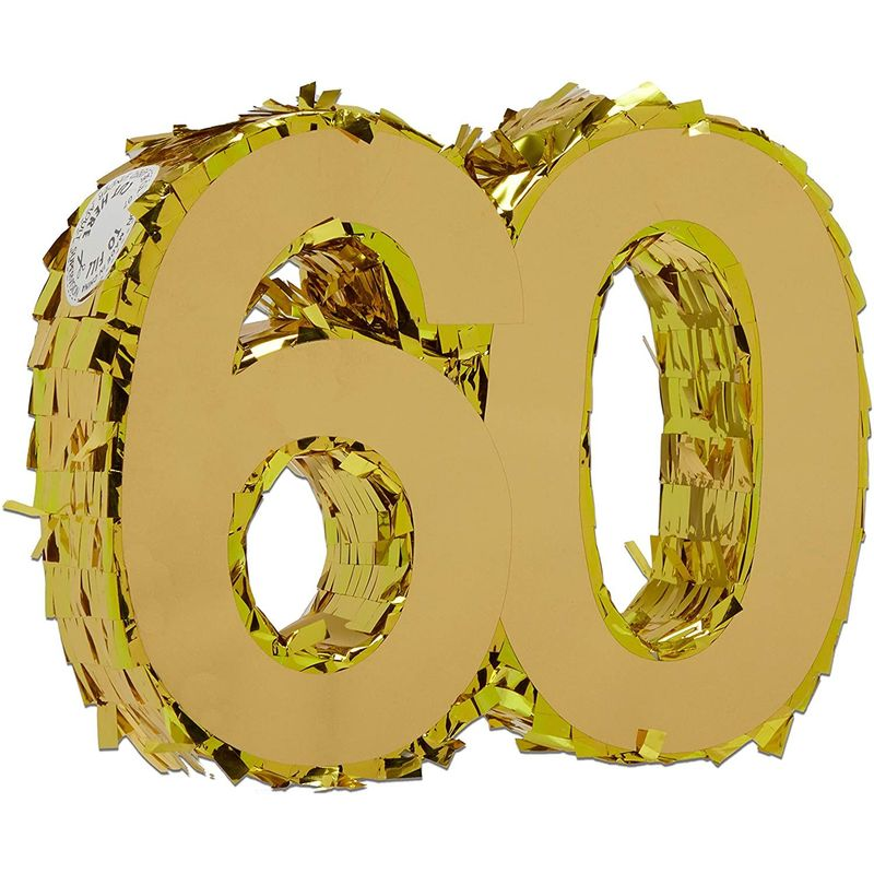 Mini Gold Foil Pinata for 60th Birthday Party, Anniversary, Number 60 (7.8 x 6.5 x 2 In)