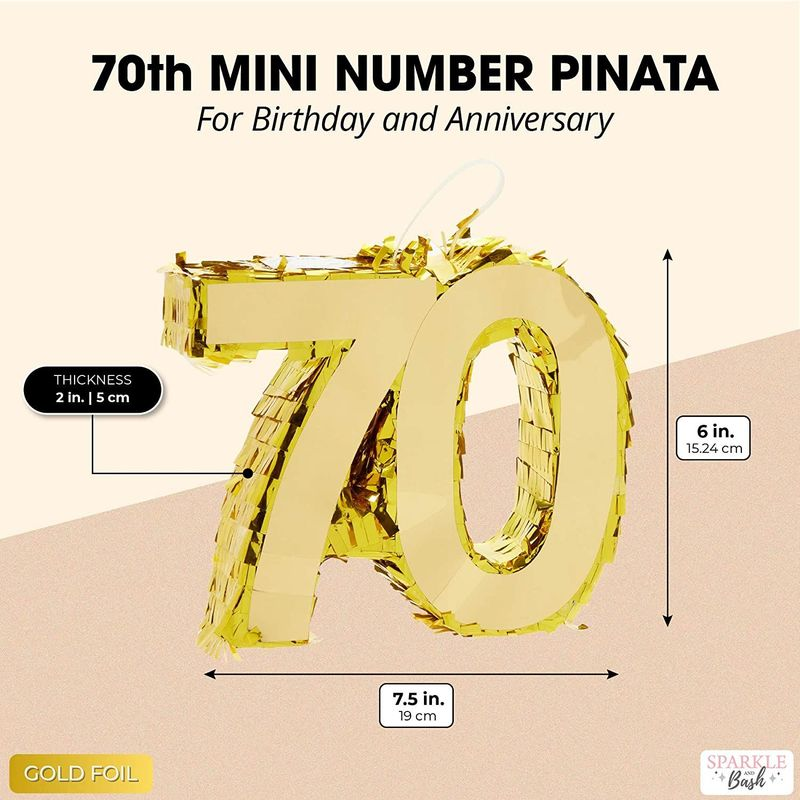 Mini Gold Foil Number 70 Pinata for 70th Birthday Party (7.5 x 6 x 2 Inches)