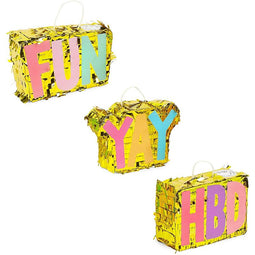 Mini Gold Foil Birthday Party Pinatas, YAY, HBD, FUN Designs (3 Pack)