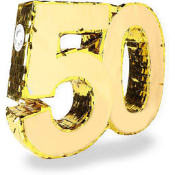 Gold Foil Pinata for 50th Birthday Party (16.5 x 13 In)