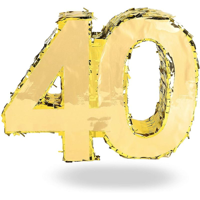 40th Birthday Decorations, Pinata Number (Gold Foil, 16.5 x