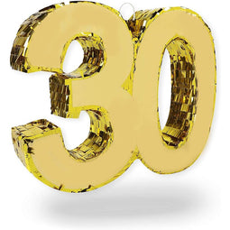 Gold Foil Pinata for 30th Birthday Party (16.5 x 13 In)