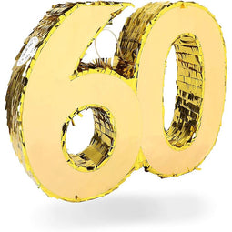 Gold Pinata for 60th Birthday Party, Number 60 (16.5 x 13 x 3 In)