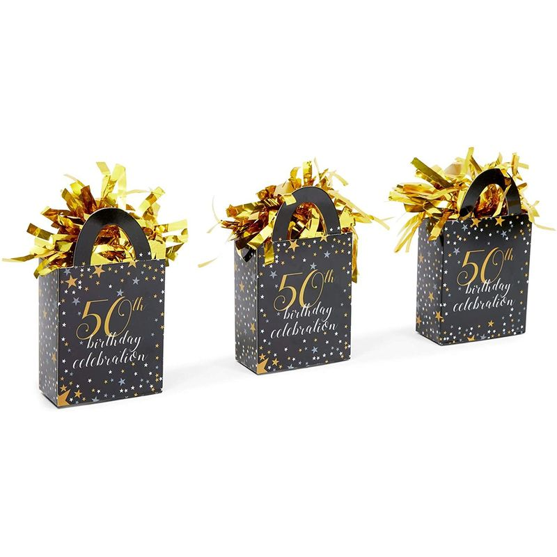 50th Birthday Party Balloon Weights, Black and Gold Decorations (6 oz, 6 Pack)