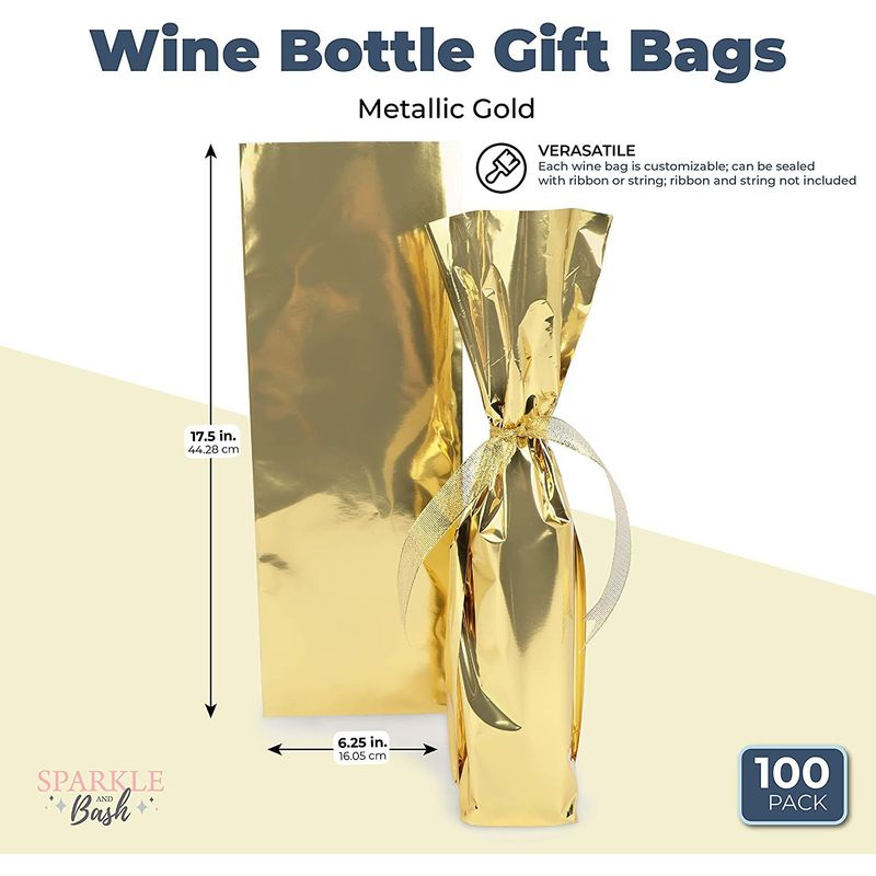 Wine Bottle Gift Bags, Metallic Gold (6 x 17 in, 100 Pack)