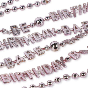 Birthday Babe Beaded Party Necklaces (Rose Gold, 32 Inches, 24 Pack)