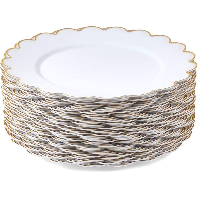White Plastic Plates with Gold Scalloped Edge (9 in, 50 Pack