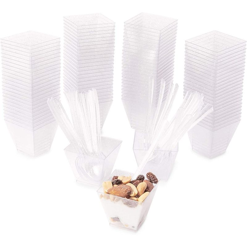 Mini Dessert Cups with Spoons, Silver Glitter (2 oz, 100-Pac