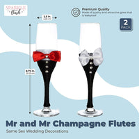 Mr and Mr Champagne Flutes, Same Sex Wedding Decorations (2-