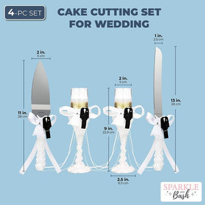 Cake Cutting Set for Wedding, Includes Champagne Flutes, Pie