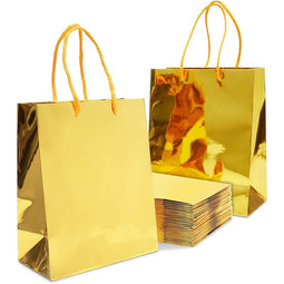 Gold Gift Bags with Handles, Small Gift Bag (9.25 x 8 x 4.25 in, 24 Pack)