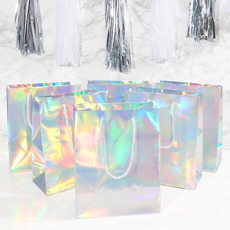 Silver Gift Bags with Handles, Small Gift Bag (9.25 x 8 x 4.25 In, 24 Pack)