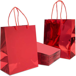 Red Gift Bags with Handles, Small Gift Bag (9.25 x 8 x 4.25 In, 24 Pack)
