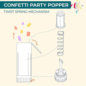Rainbow Confetti Party Poppers (20 Pack)