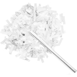 White and Silver Confetti Wands for Wedding Reception Supplies (14 in, 8 Pack)