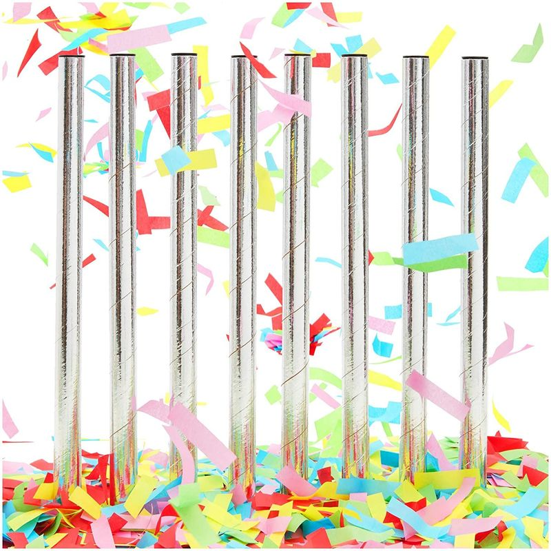 Colorful Confetti Wands for Birthday Party (14 in, 8 Pack) Silver