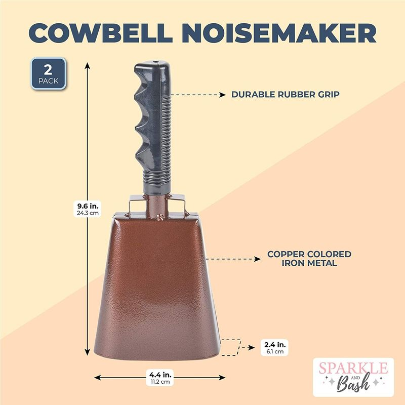 Copper Cow Bells with Handles, Noise Makers (4.3 x 9.5 In, 2 Pack)