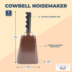 Copper Cow Bell with Handle, Noise Maker (4.75 x 11 In)