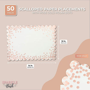 Scalloped Paper Placemats with Rose Gold Foil Polka Dots (14