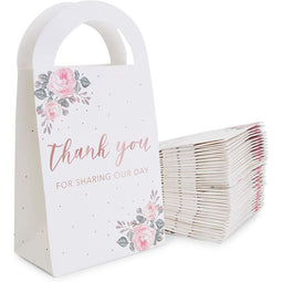 Thank You for Sharing Our Day Wedding Treat Bags with Handles, Rose Gold Foil (5 x 9.5 x 3 Inches, 36 Pack)