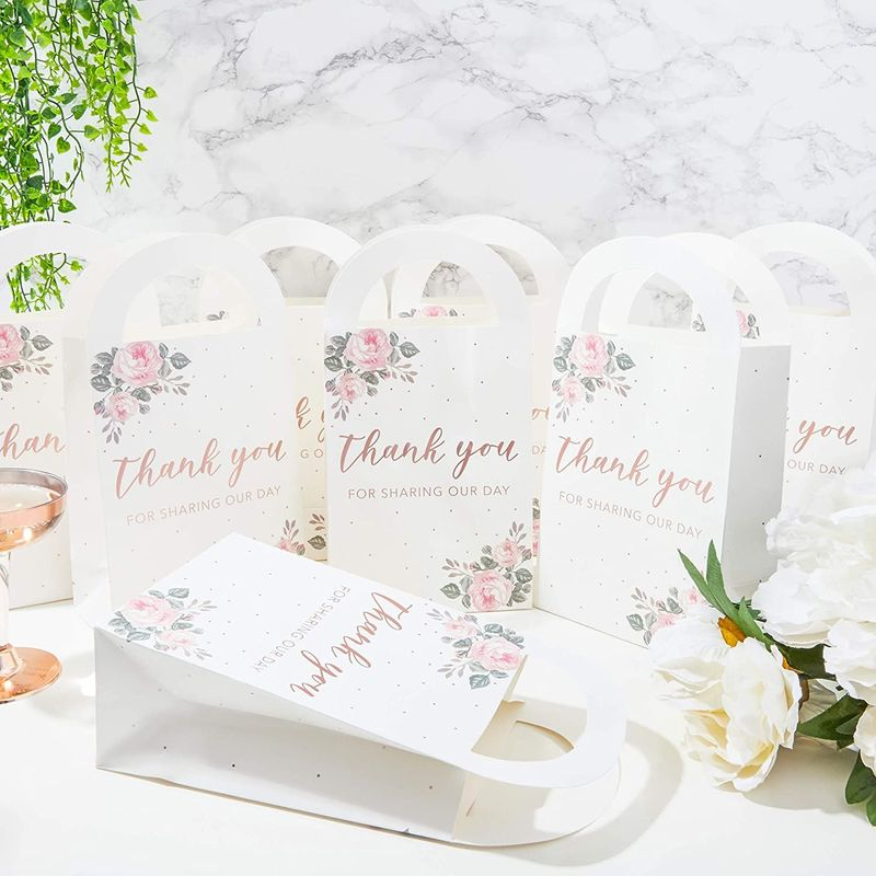 Wedding Treat Bags with Handles, Rose Gold Foil (5 x 9.5 x 3