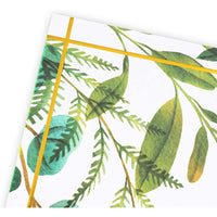 Mr. and Mrs. Paper Placemats for Wedding, Gold Foil Greenery