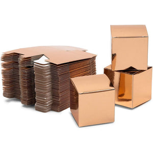 Rose Gold Foil Small Paper Treat Boxes 2.36 x 2.36 x 2.36 In