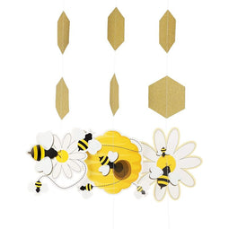 Bumble Bee Baby Shower Hanging Decorations (Yellow, Gold, 90 Inches, 12 Pack)