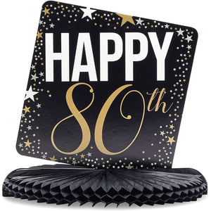 80th Birthday Party Honeycomb Centerpiece Decoration (12 x 11 In, 6 Pack)