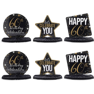 60th Birthday Party Honeycomb Centerpiece Decoration (12 x 11 In, 6 Pack)