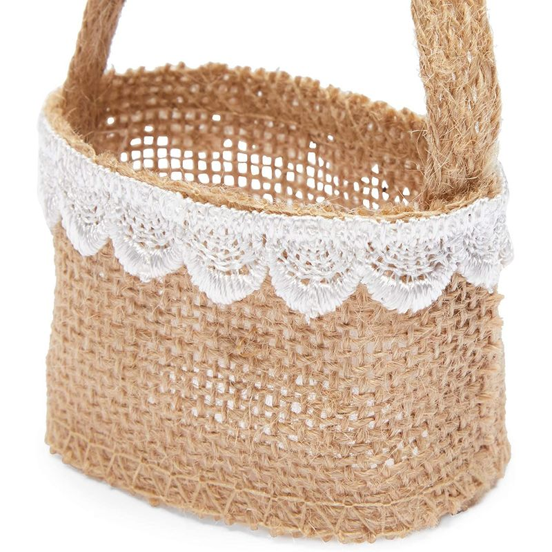 Jute Flower Girl Baskets with Lace for Wedding Party (2.3 x 3.9 In, 12 Pack)