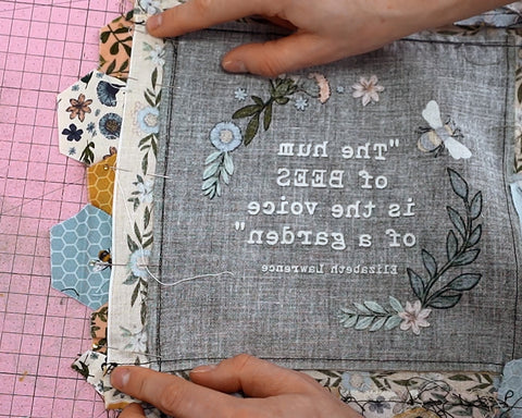 attaching a panel to a quilt how to sew hexagons on by machine