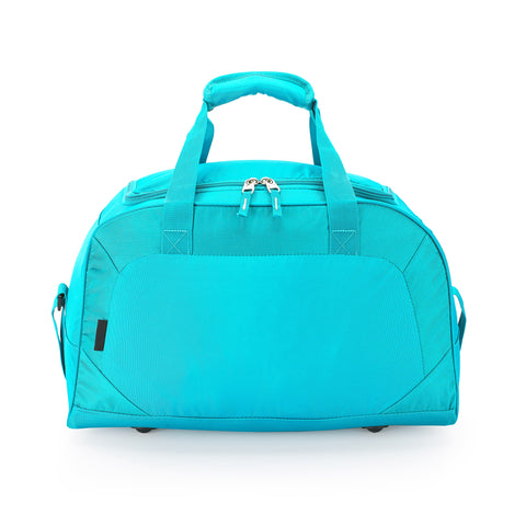 Teal luggage with two way head to head zipper