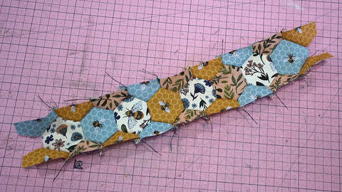 Creating half hexagons for a quilt