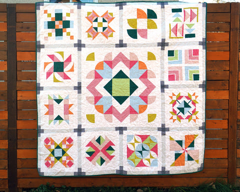 Sampler Block quilt all quilted on the long arm sewing machine with curves