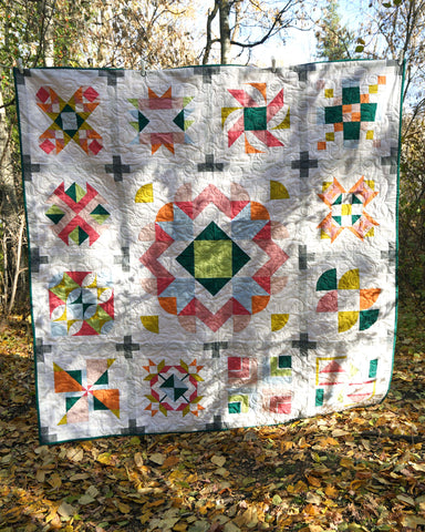the final quilt is all done and back from the long arm sewing - so pretty against the fall leaves