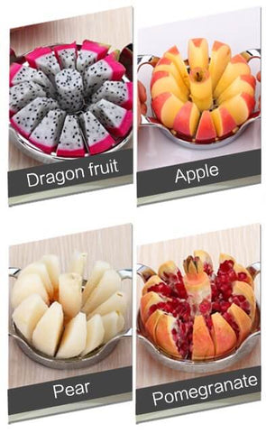 Apple pear pomegranate and dragon fruit cut into 12 pieces