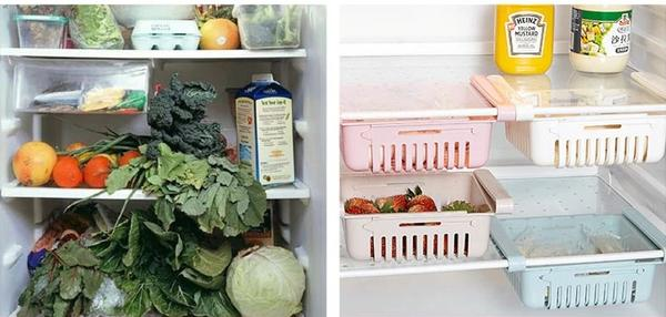 Before and after using fridge organizer