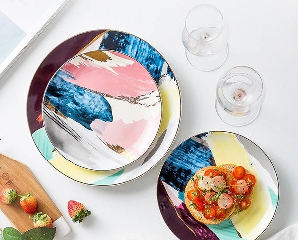 Dining with watercolor ceramic dinner plates