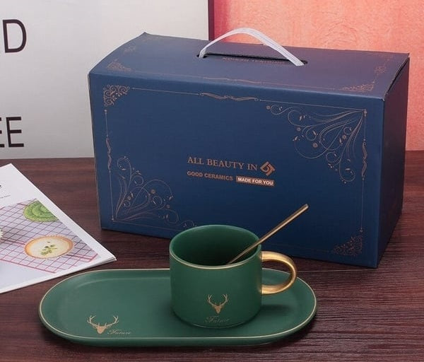Green Elk gold rim cup with packaging
