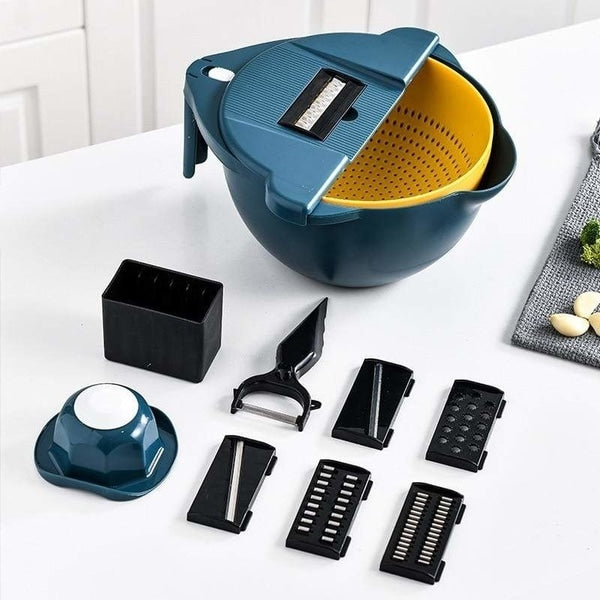 Showing all parts of 6 settings vegetable slicer
