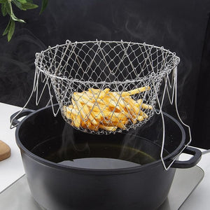 Multi-function frying basket for chips and fries