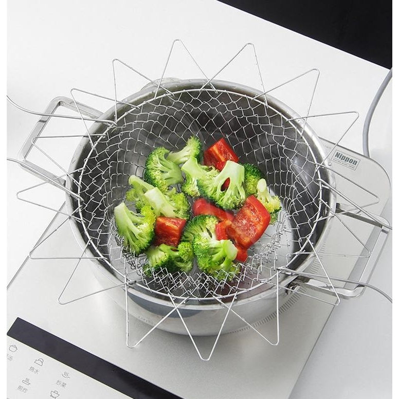 Stainless steel frying basket for vegetables