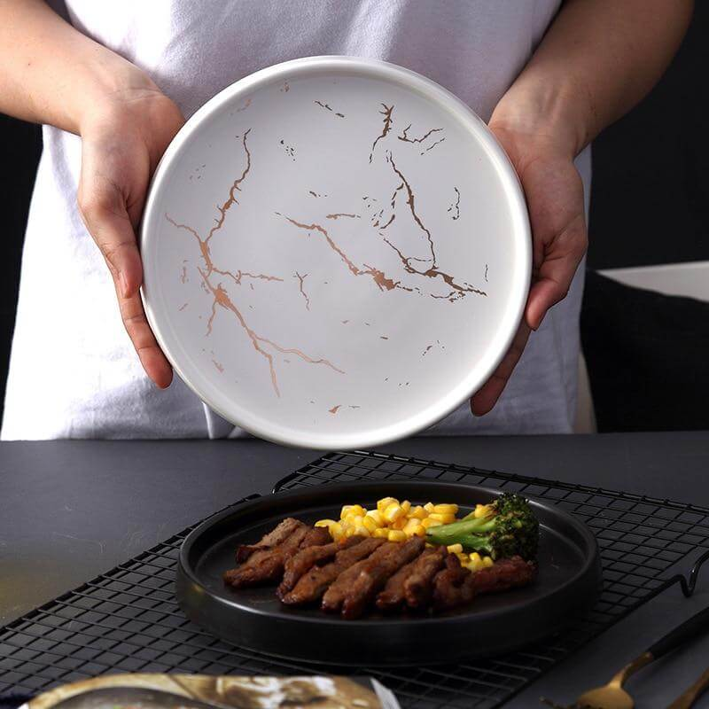 Showing white helena ceramic dinner plate next to food